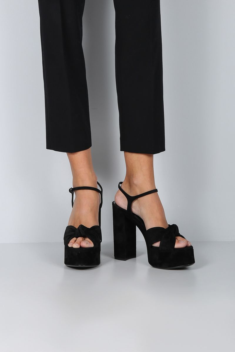 SAINT LAURENT: Bianca platform sandals in suede Color Black_2