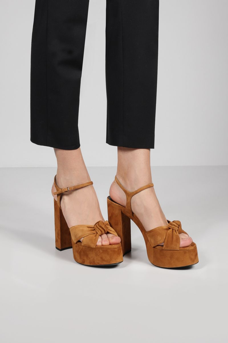SAINT LAURENT: Bianca suede platform sandals Color Brown_2