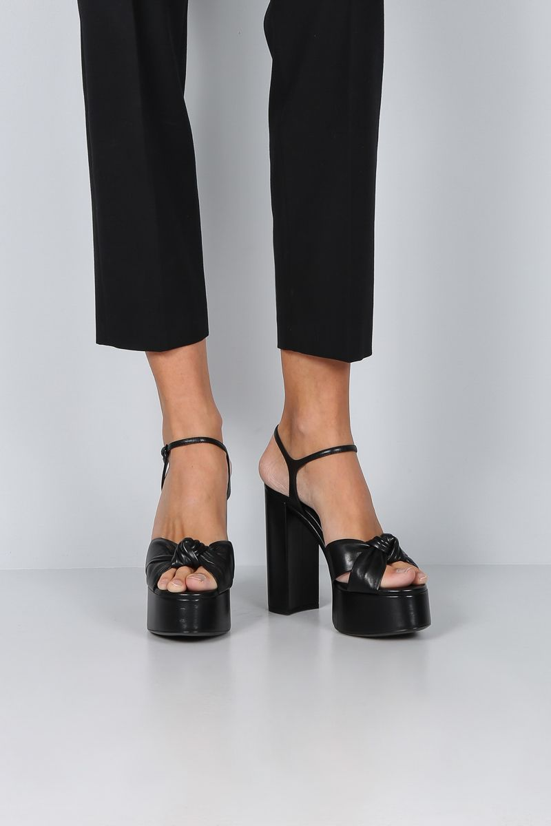 SAINT LAURENT: Bianca platform sandals in smooth leather Color Black_2