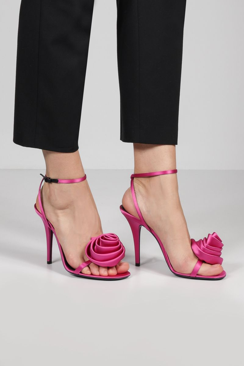 SAINT LAURENT: Ivy Flower silk satin sandals Color Purple_2