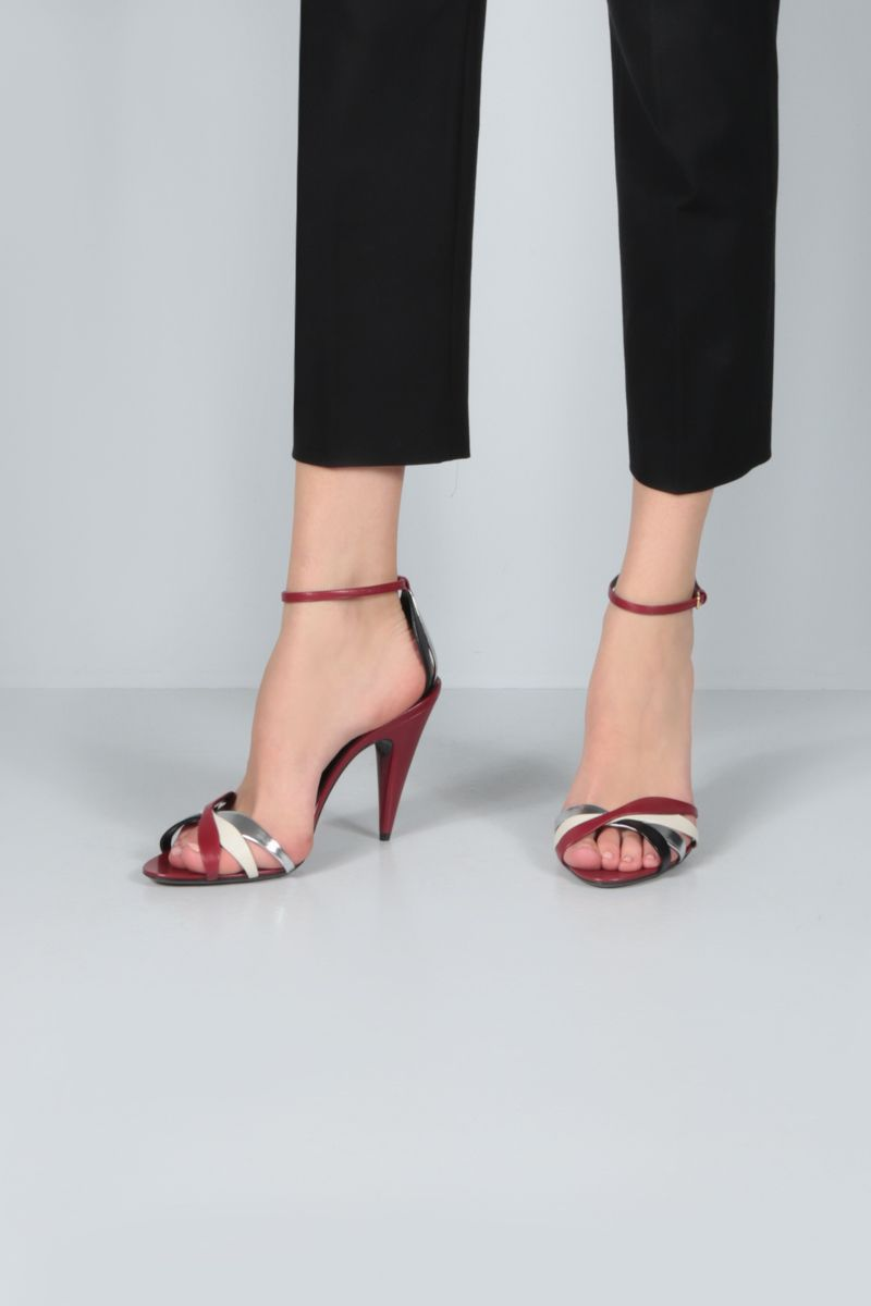 SAINT LAURENT: Kristen smooth leather sandals Color Red_2