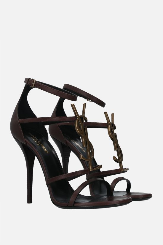 SAINT LAURENT: Cassandra smooth leather sandals Color Brown_2