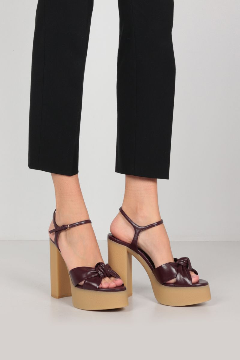 SAINT LAURENT: Bianca smooth leather sandals Color Red_2