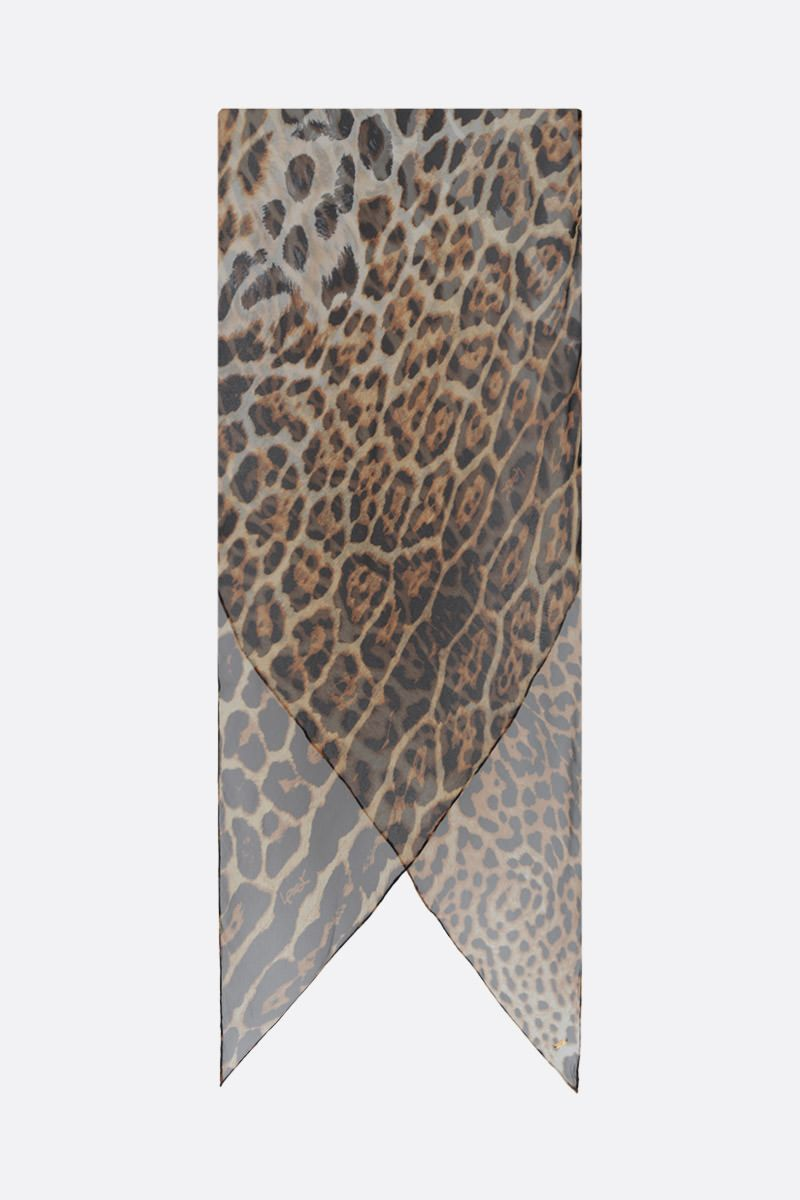 SAINT LAURENT: leopard print silk foulard Color Animalier_2