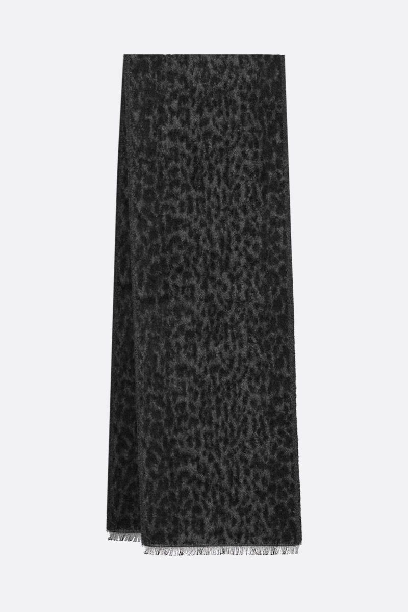 SAINT LAURENT: leopard mohair cotton blend scarf Color Black_2