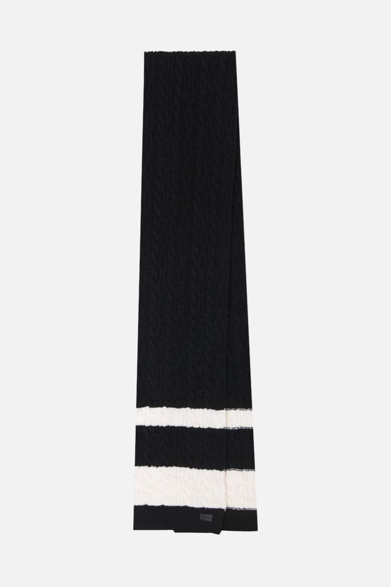 SAINT LAURENT: bicolor wool knit scarf Color Black_2