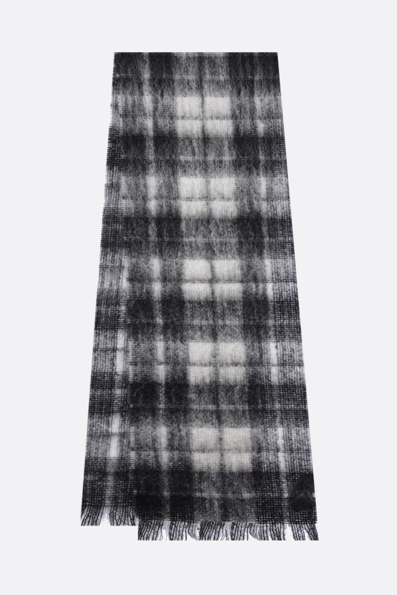 SAINT LAURENT: check mohair wool blend scarf Color White_2