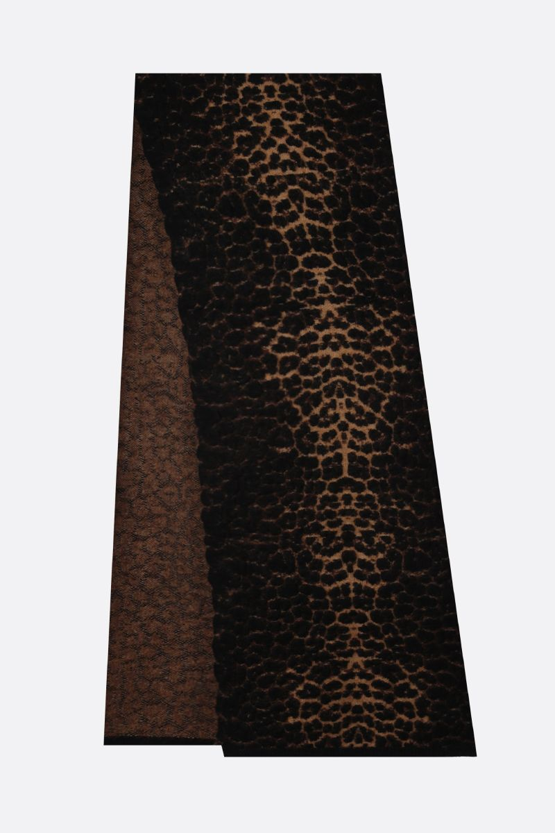 SAINT LAURENT: leopard-motif wool mohair blend scarf Color Multicolor_2