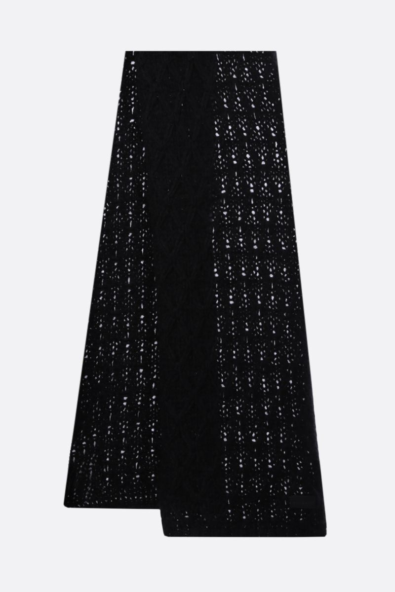 SAINT LAURENT: wool mohair blend scarf Color Black_2