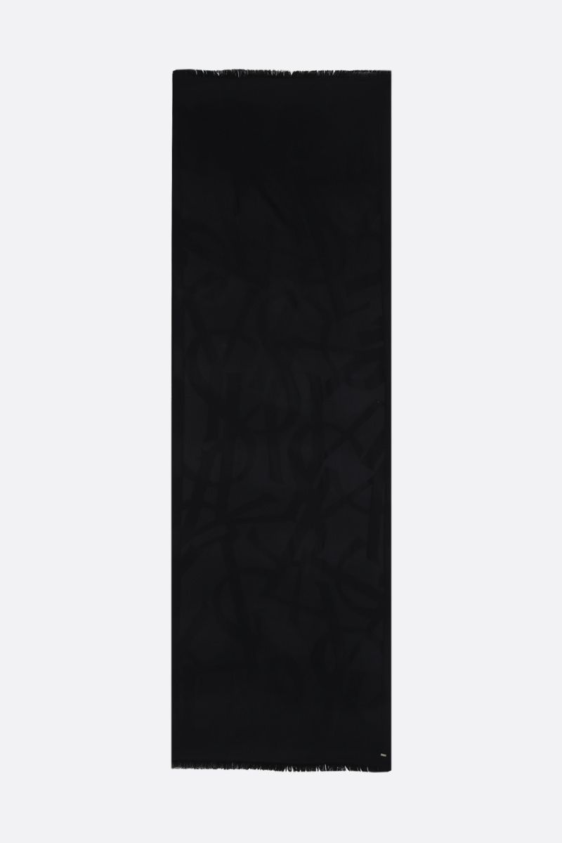 SAINT LAURENT: YSL-detailed wool scarf Color Black_2