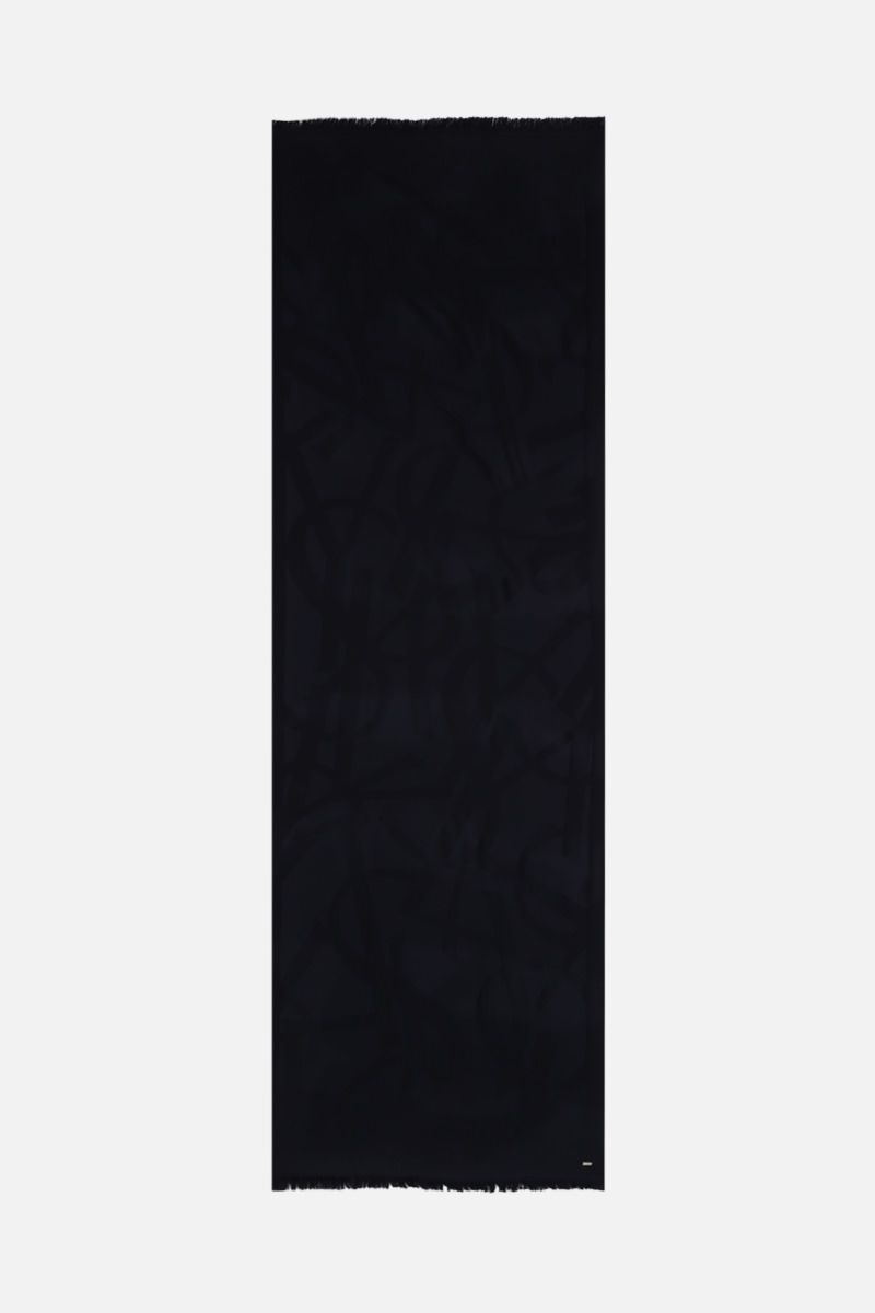 SAINT LAURENT: YSL-detailed wool scarf Color Blue_2