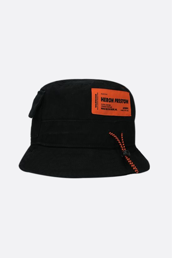 HERON PRESTON: drawstring-detailed cotton bucket hat Color Black_2