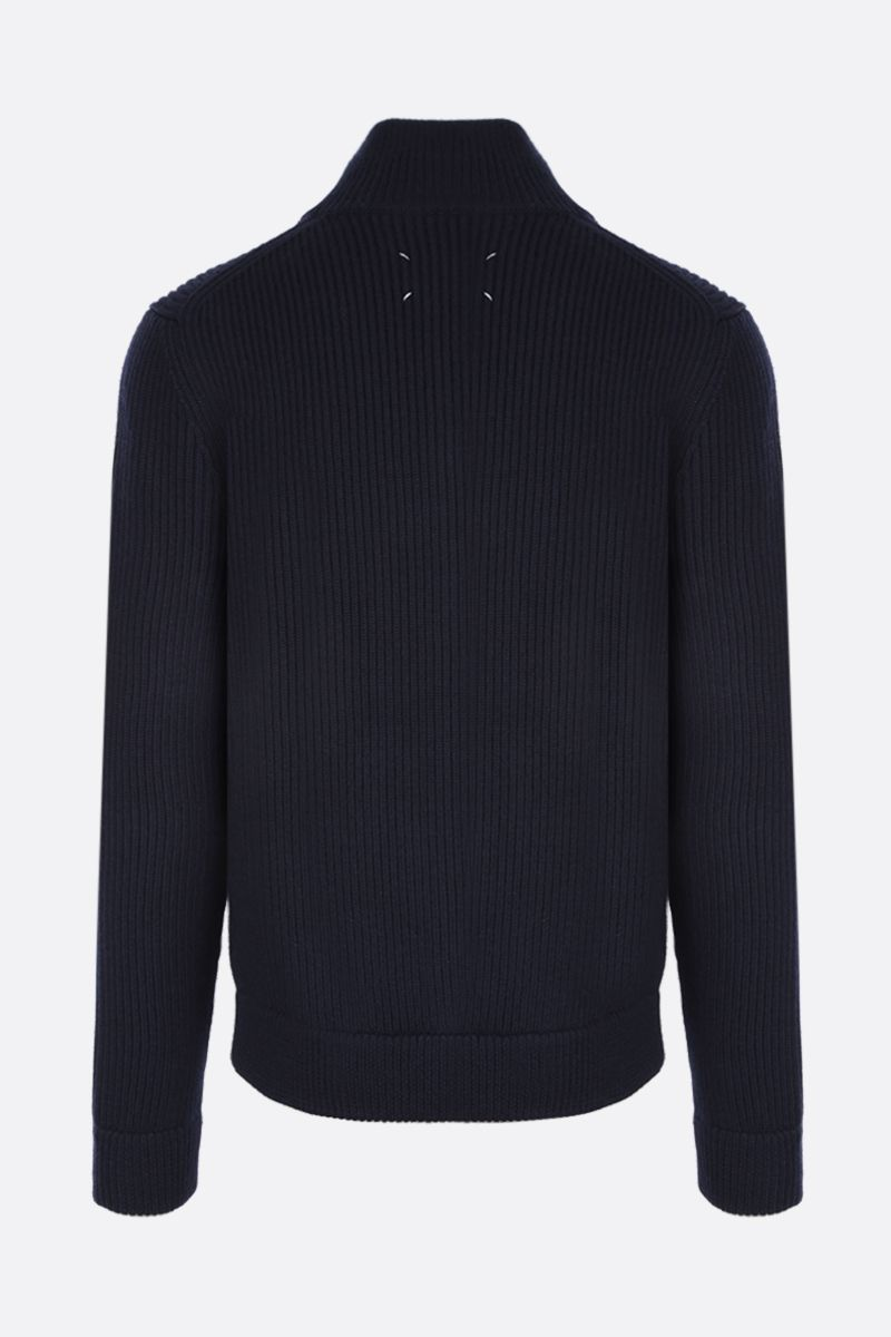 MAISON MARGIELA: rib wool full-zip pullover Color Blue_2