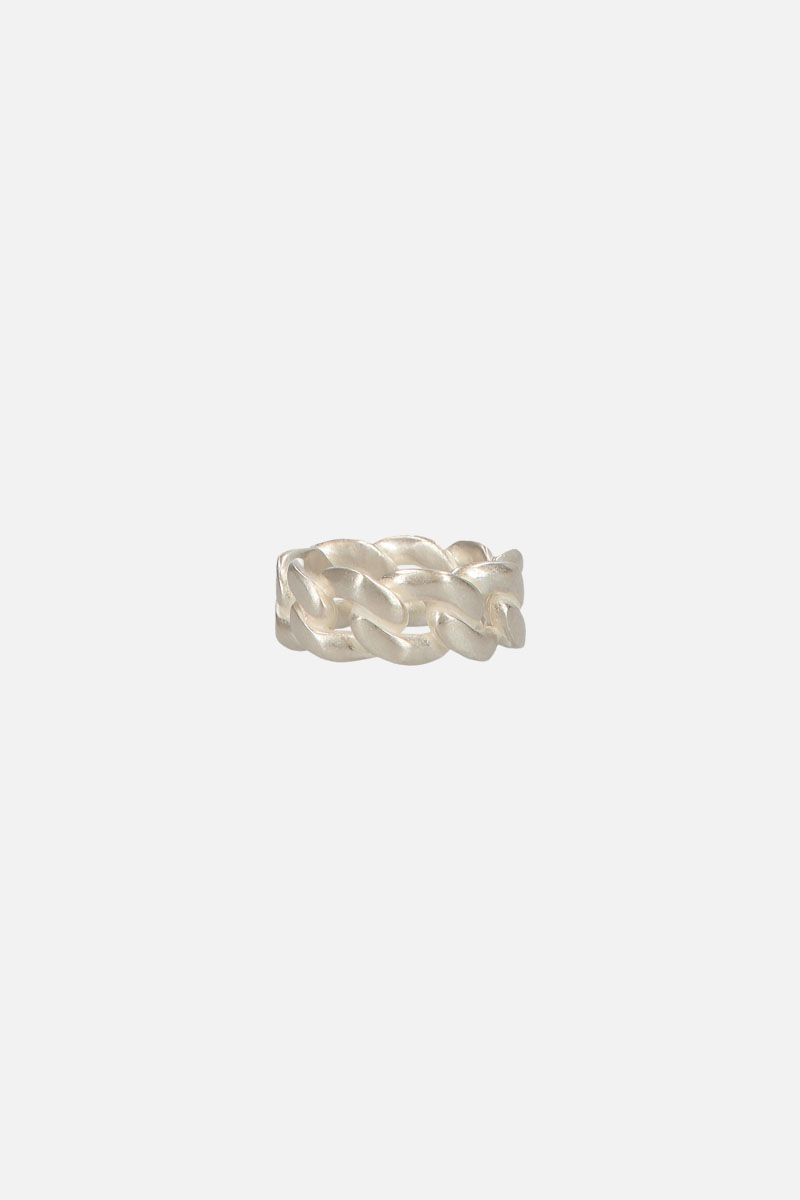 MAISON MARGIELA: silver curb chain ring Color Silver_2