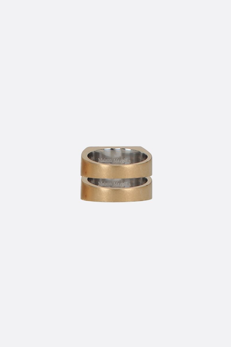 MAISON MARGIELA: signature-detailed sterling silver twin stakable ring Color Gold_2