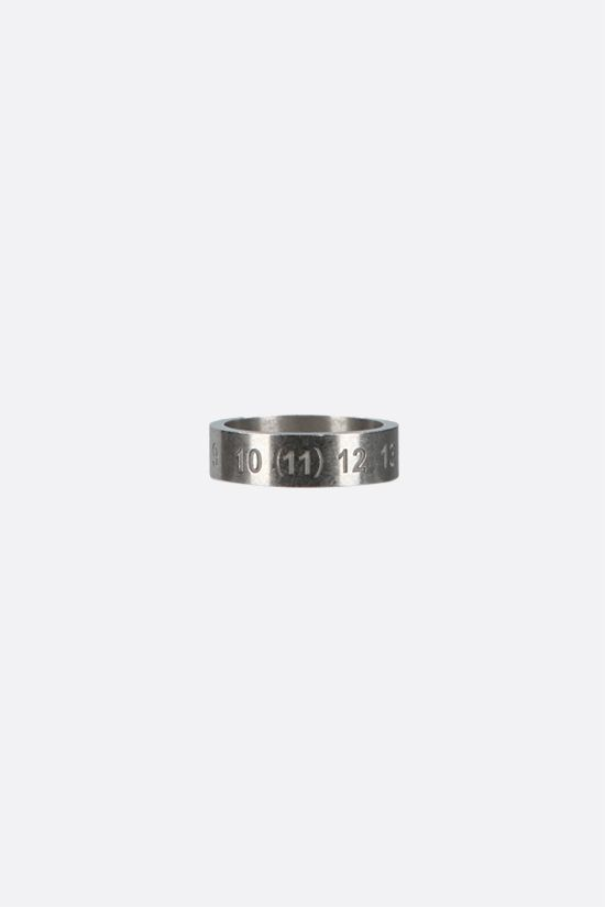 MAISON MARGIELA: numerical logo-detailed sterling silver ring Color Gold_2