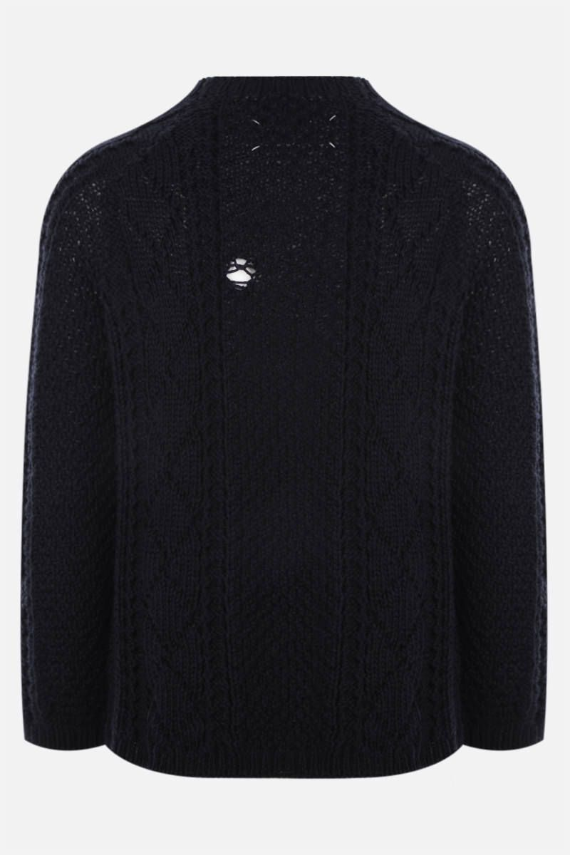 MAISON MARGIELA: wool pullover with decorative holes Color Blue_2