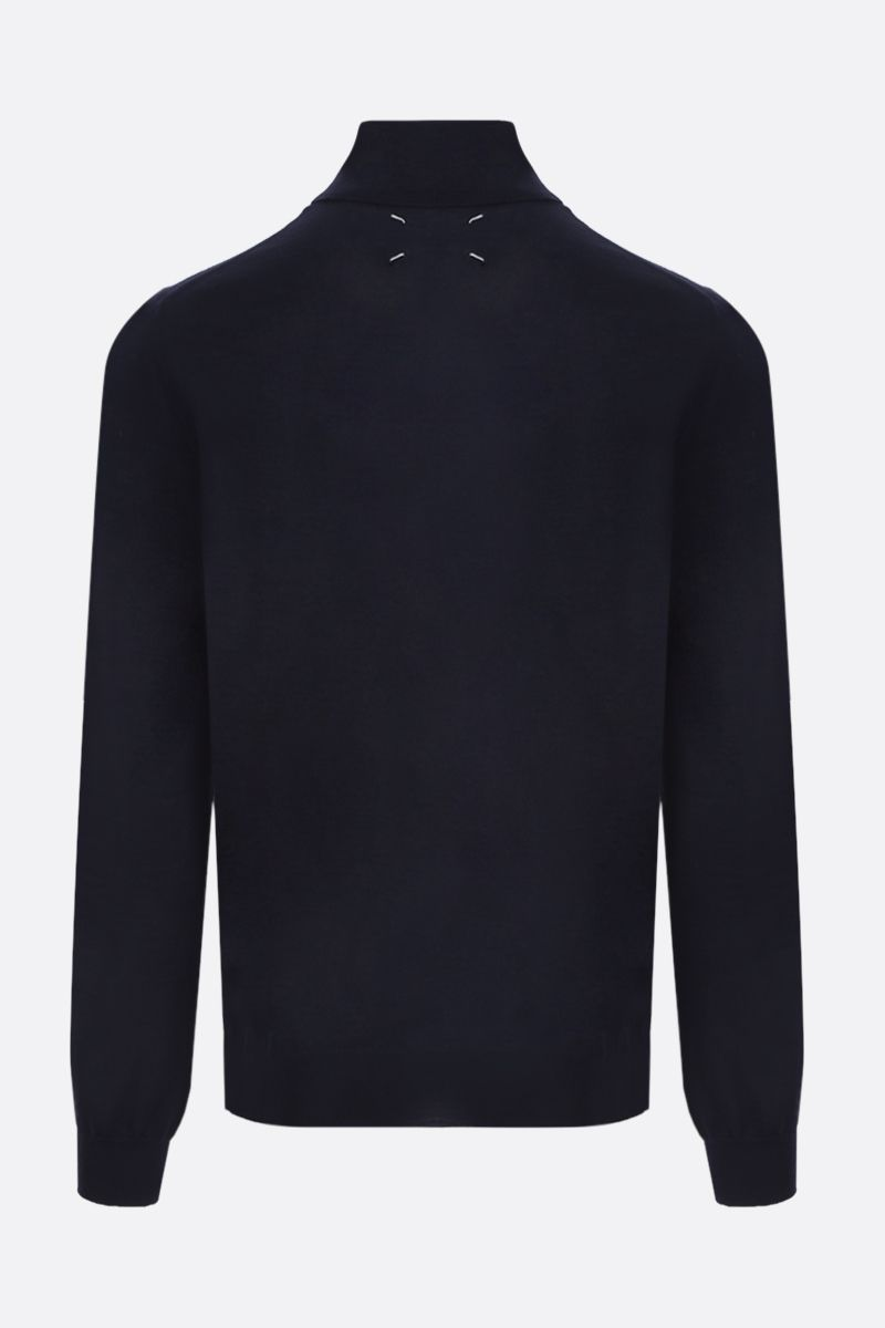 MAISON MARGIELA: piping-detailed combed wool turtleneck Color Blue_2