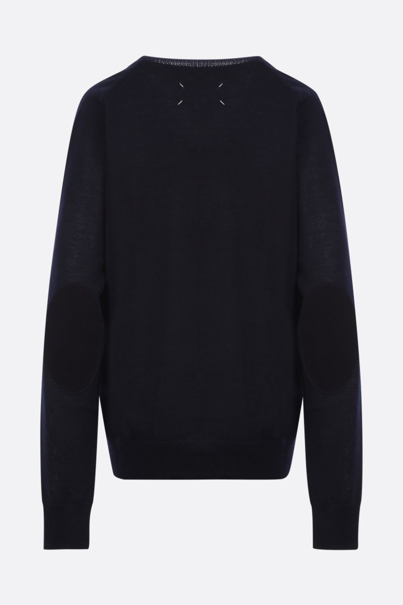 MAISON MARGIELA: pullover in lana con patches Colore Blue_2