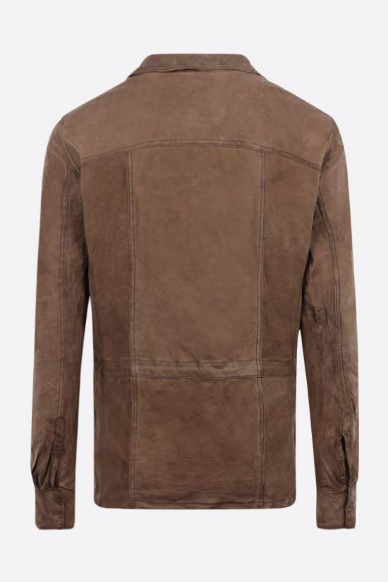 GIORGIO BRATO: crickled-effect leather bush jacket Color Green_2