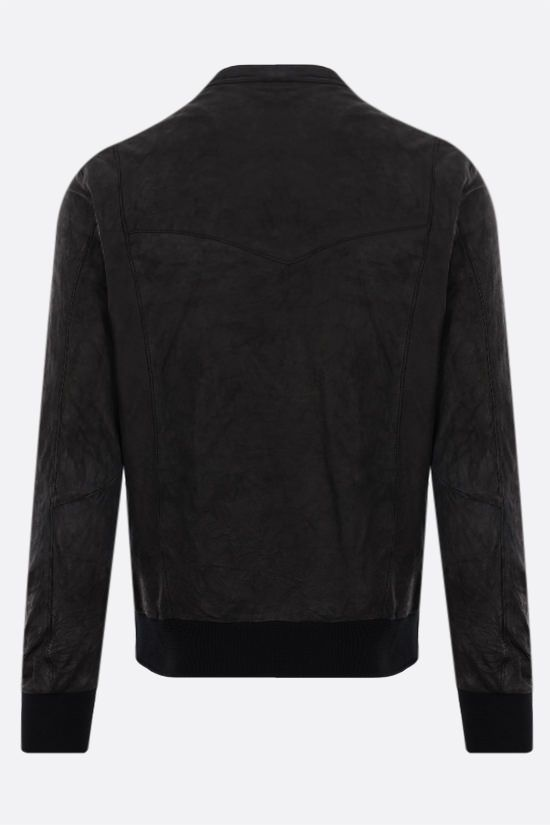 GIORGIO BRATO: crinkled-effect leather bomber jacket Color Black_2