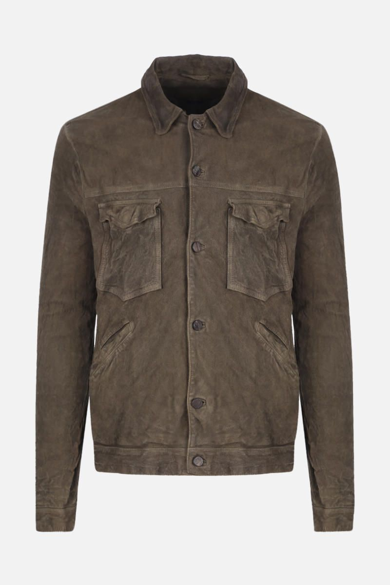 GIORGIO BRATO: crinkled-effect leather overshirt Color Green_1