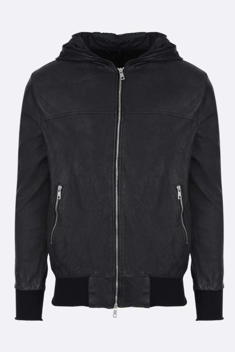 GIORGIO BRATO: hooded bomber jacket in reverse leather Color Black_1