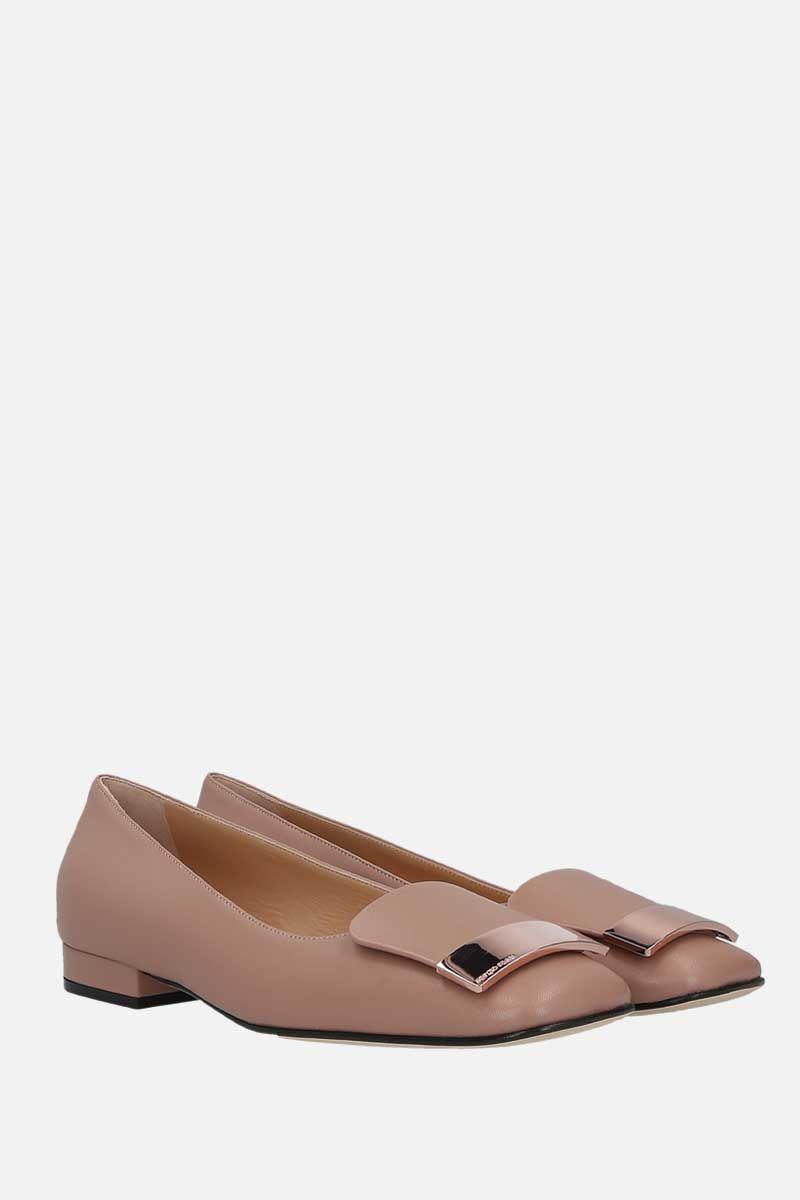 SERGIO ROSSI: sr1 soft nappa ballerinas Color Neutral_2