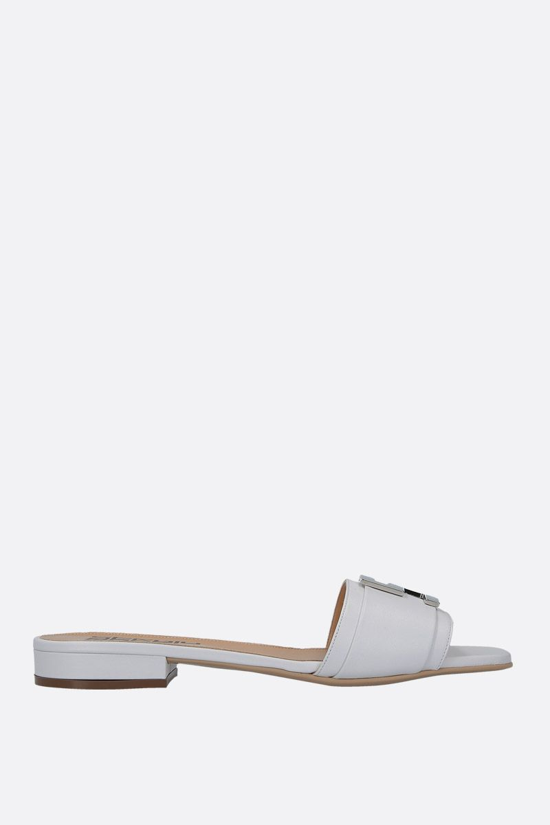 SERGIO ROSSI: Logomaniac soft nappa flat sandals Color White_1