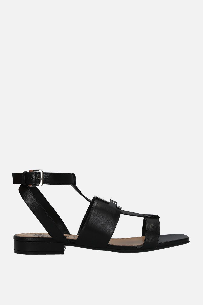 SERGIO ROSSI: Logomaniac soft nappa flat sandals Color Black_1