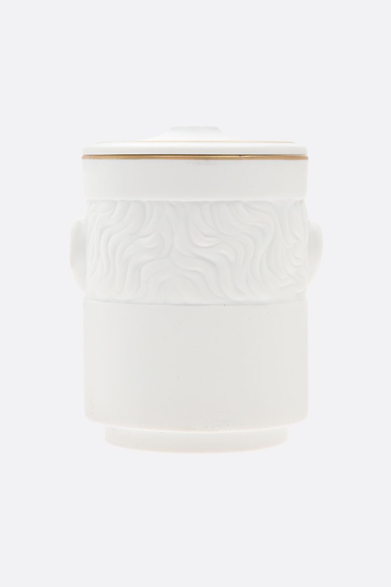 GINORI 1735: Il Seguace porcelain candle holder with cover Color White_2