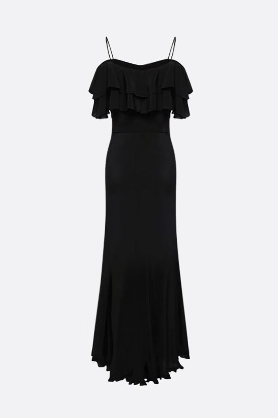 ALESSANDRA RICH: silk long dress with central slit Color Black_2