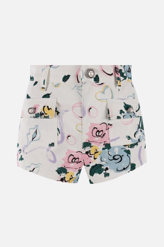 ALESSANDRA RICH: Floral Ribbon print gabardine shorts Color White_1