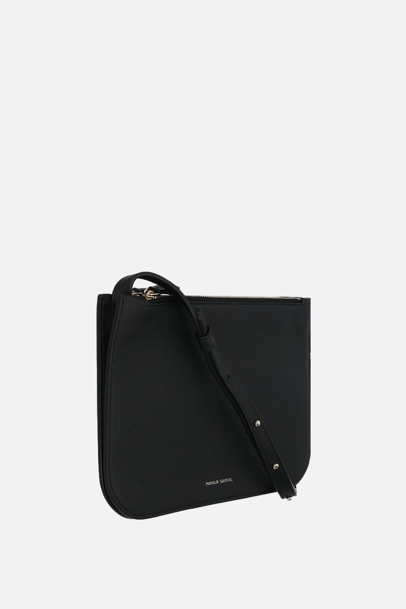 MANSUR GAVRIEL: grainy leather double crossbody bag Color Black_2