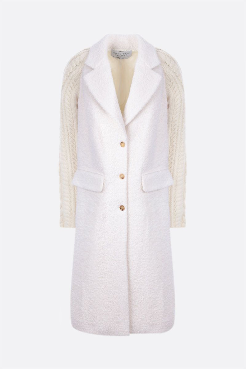 GABRIELA HEARST: Charles single-breasted coat in bouclè and knit Color White_1