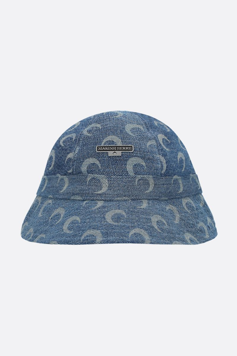 MARINE SERRE: Moon print denim bucket hat_1