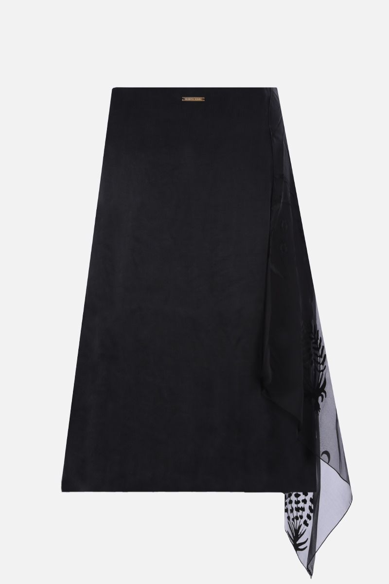MARINE SERRE: Moon embroidered satin asymmetric skirt Color Black_2
