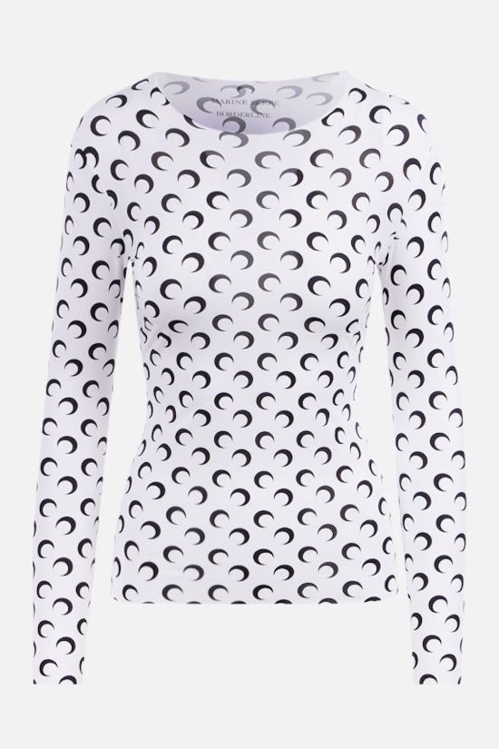 MARINE SERRE: Second Skin Moon technical fabric top Color White_1
