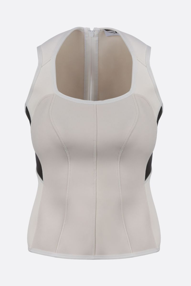 MARINE SERRE: scuba fabric sleeveless top Color White_1