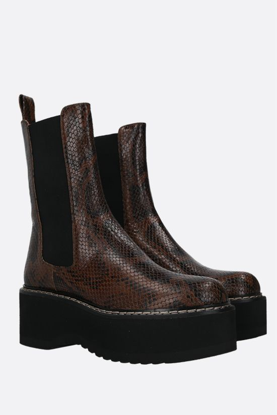 PARIS TEXAS: python-embossed leather flatform boots Color Brown_2