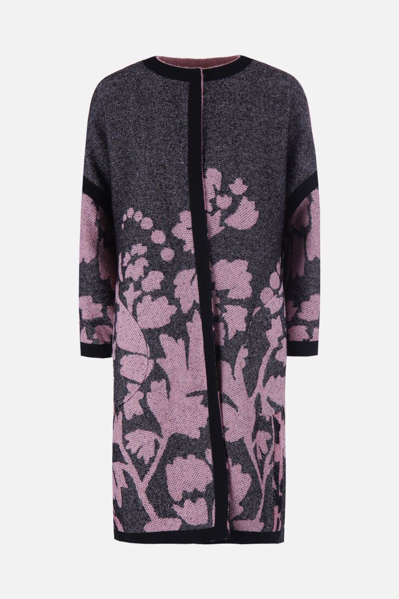 MARIT ILISON: LFS Reversible coat in floral jacquard Color Black_2