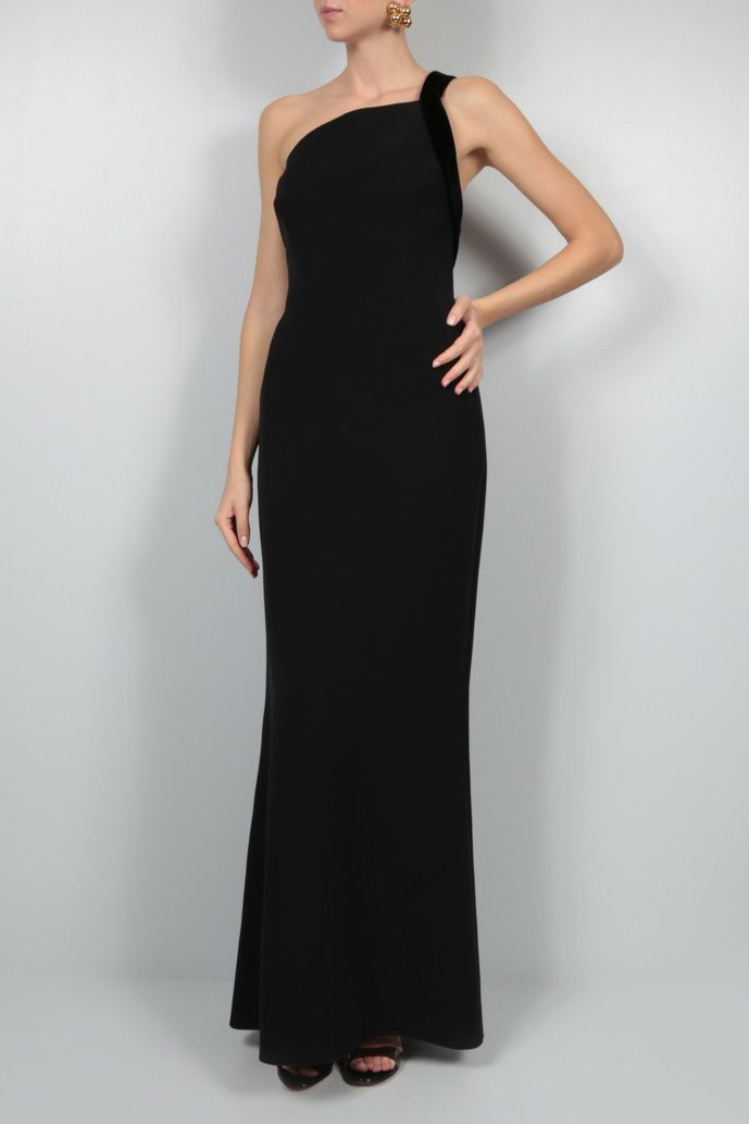 GIORGIO ARMANI: velvet trim-detailed crepe evening gown Color Black_2
