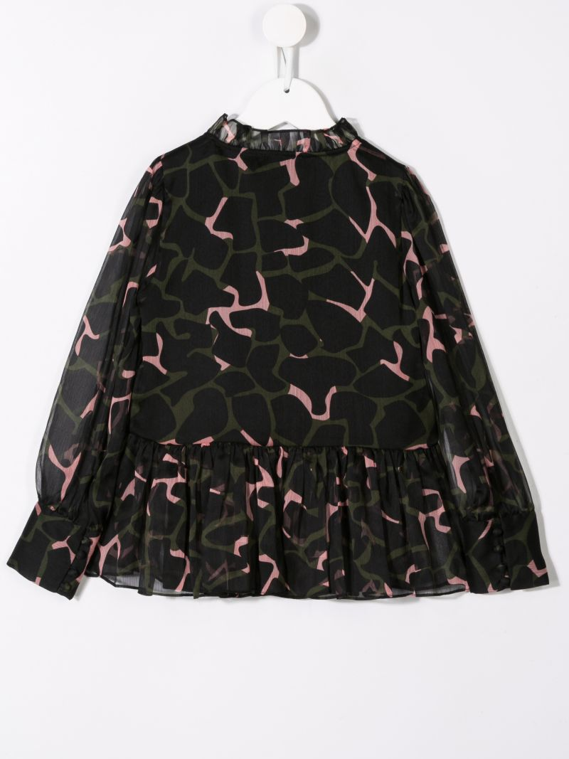 ARMANI JUNIOR: abstract printed georgette blouse_2