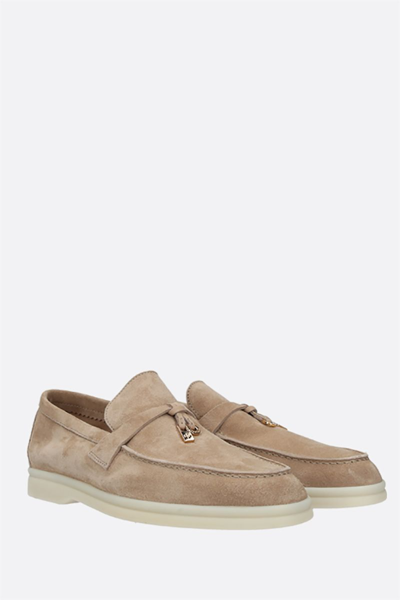 LORO PIANA: Summer Charms Walk suede loafers Color Neutral_2