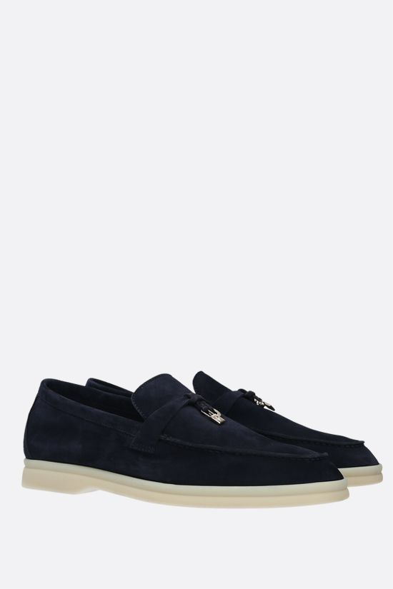 LORO PIANA: Summer Charms Walk suede loafers Color Blue_2