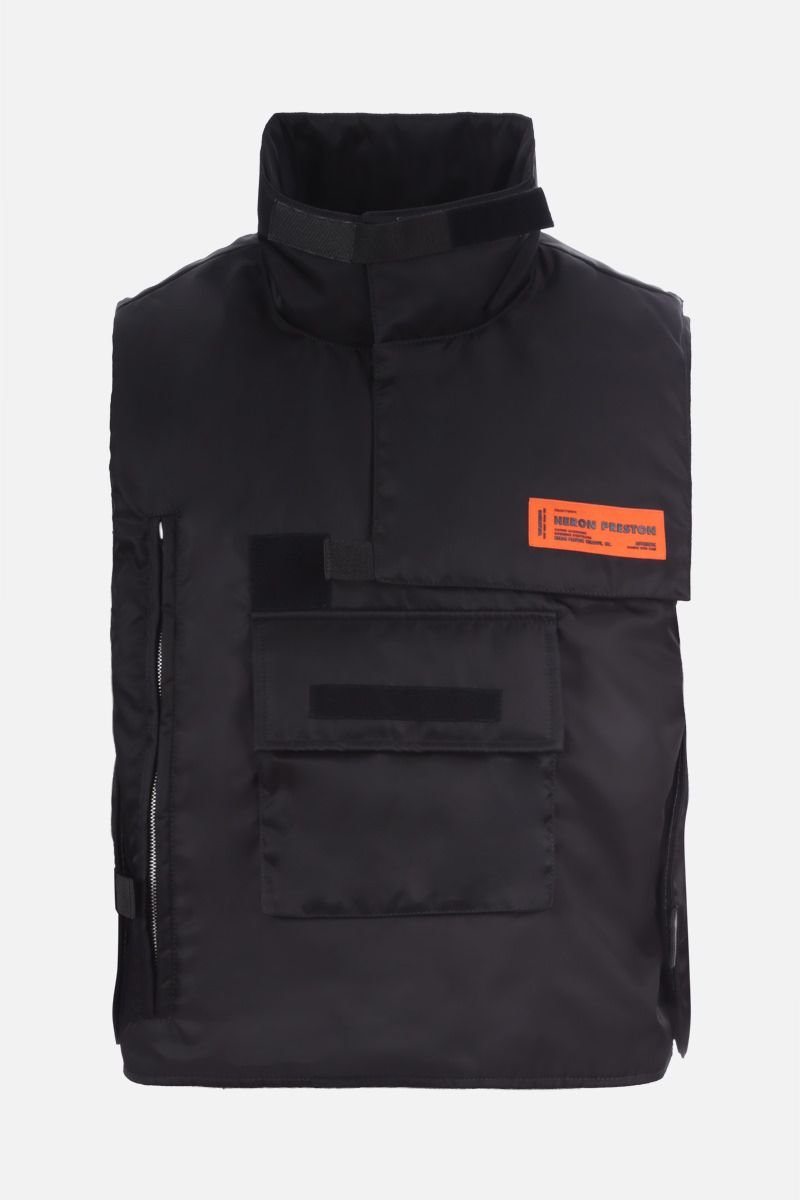 HERON PRESTON: logo patch nylon padded military vest Color Black_1