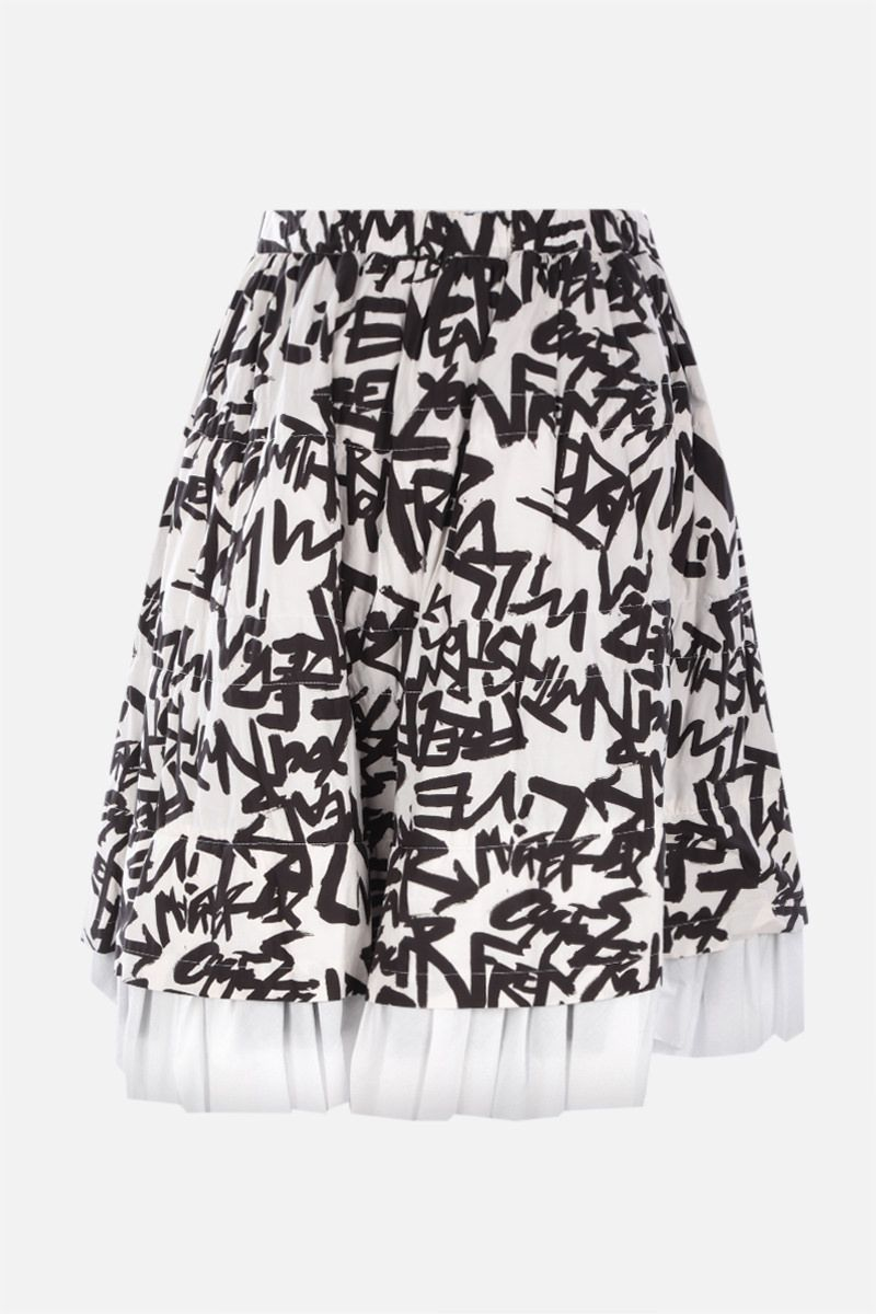 COMME des GARCONS: multilayered printed cotton skirt Color White_2
