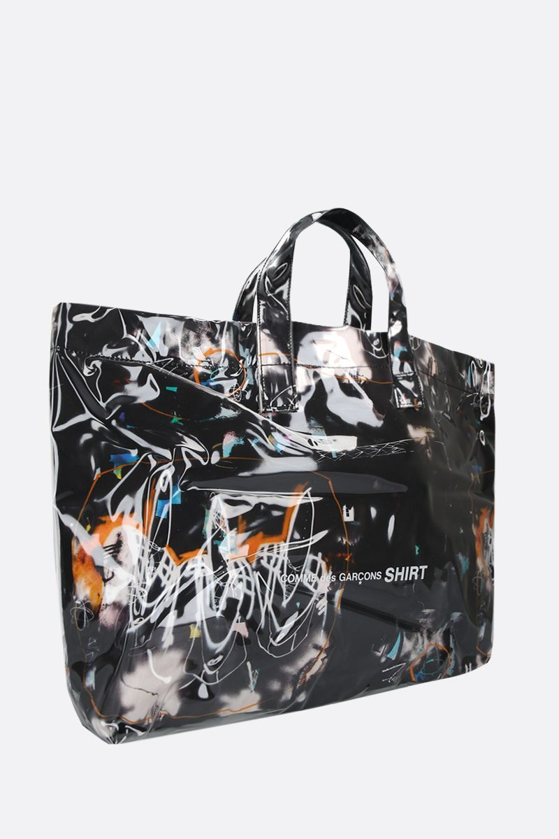 COMME des GARCONS SHIRT: Futura print vinyl tote bag Color Black_2