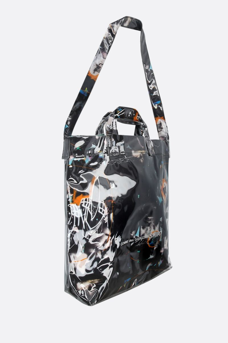 COMME des GARCONS SHIRT: Futura print vynil tote bag Color Black_2