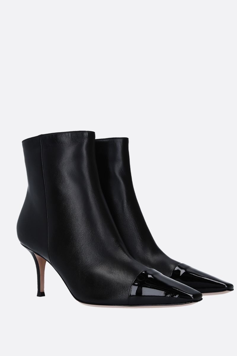 GIANVITO ROSSI: Lucy ankle boots in smooth and patent leather Color Black_3